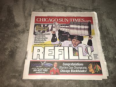Chicago Sun Times Chicago Blackhawks 2013 Stanley Cup Champion Newspaper