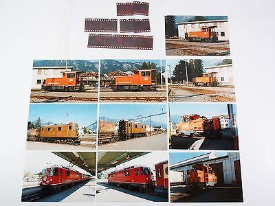 """10 Fotos mit Negativen - Lokomotiven der RhB - 1994 """"Xbe01"""