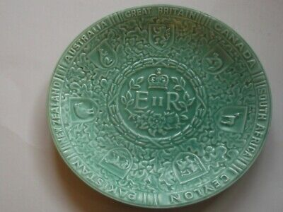 Vintage Queen Elizabeth11 Wedgewood Coronation green moulded dished animalshapes