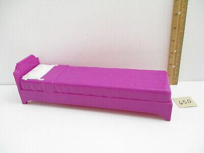 2009 Mattel Barbie Single Purple Bed - 11.5 inches Long