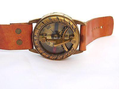 Antique Steampunk Wrist Brass Compass & Sundial-Watch Type Sundial