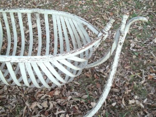 ANTIQUE 19th CENTURY BENTWOOD SWINGING BOAT HULL CRADLE IN ORIGINAL WHITE PAINT