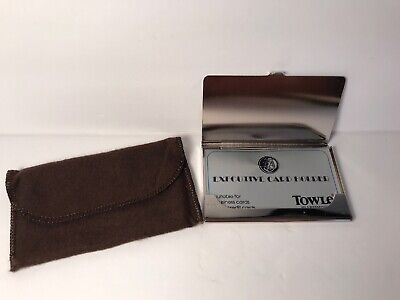 Vintage Towle Business Credit Card Holder W Original Pouch Never Used