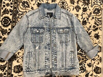 Abercrombie And Fitch Womens Denim Jean Long Jacket Size Medium New Long Sleeve