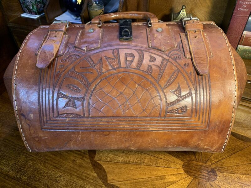 Vintage Doctors Bag , Hand Tooled Leather