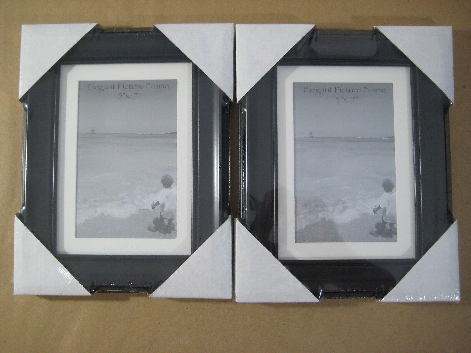 "Lot of 2 New Elegant 5"" x 7"" Picture Photo Frames Art Black"