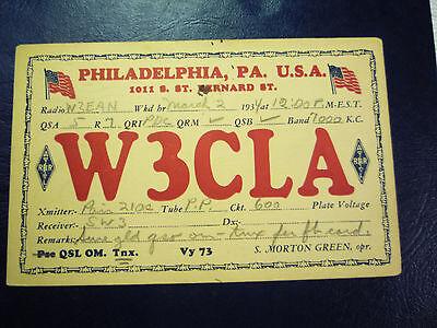 Vintage 1934 QSL Radio Card W3CLA - from PHILADELPHIA, PA PENNSYLVANIA #3