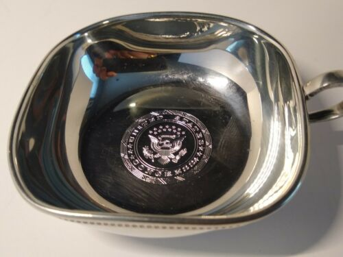 """United States Congress seal etched Salisbury Pewter Silver 4"""" bowl cup w/ handle"""