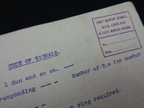 "WW1 British GHQ Doc. - ""CODE of SIGNALS"" (LEWIS MG & LIGHT TRENCH MORTAR SCHOOL)"
