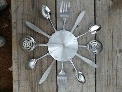 Retro Style Modern kitchen wall clock eating utensils design knife Fork spoon