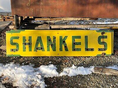 ORIGINAL Vintage SHANKELS Old PORCELAIN NEON SIGN Skin Antique PATINA Drug Store