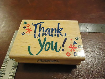 (LARGE THANK YOU! FUN AND WILD DESIGN RUBBER STAMP QUOTE SAYINGS CARD GIFT)