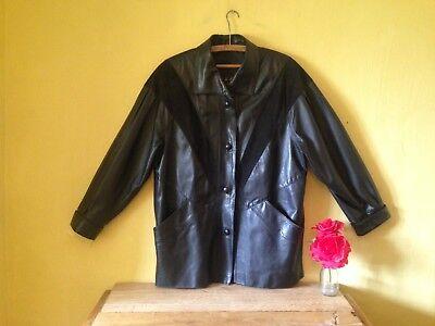 Vera Pelle retro feel size 18 black leather suede 90's 80's look italian jacket