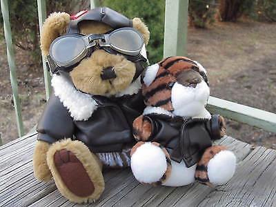 STUFFED BEAR AVIATOR RADAR by PICKFORD BRASS BUTTON and TIGER by STEVEN SMITH
