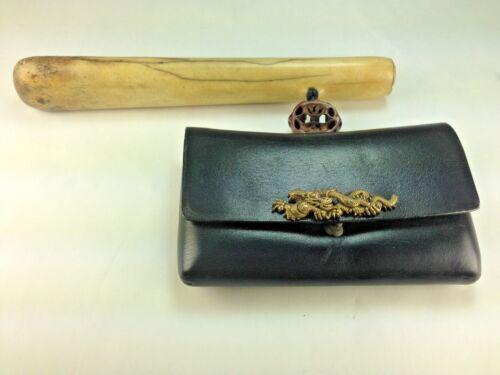 Antique Japanese Carved Antler Kieruzutsu  Holder & Leather Dragon Tobacco Pouch