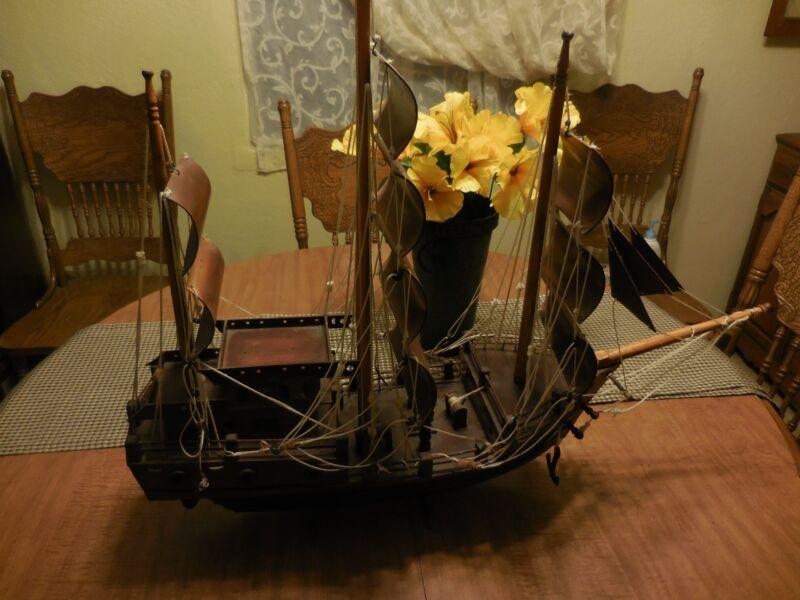 "Vintage Nautical Large all Wood Pirate Sailing Ship model decor piece 30"" Long"