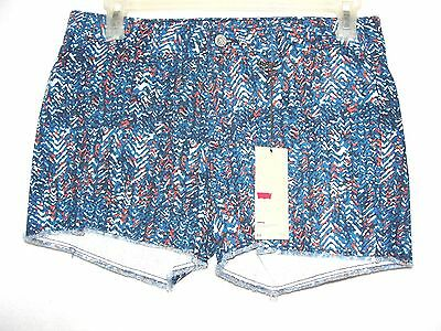 Women's Levis Blue Abstract Denim Shorts - Size 16 - NWT