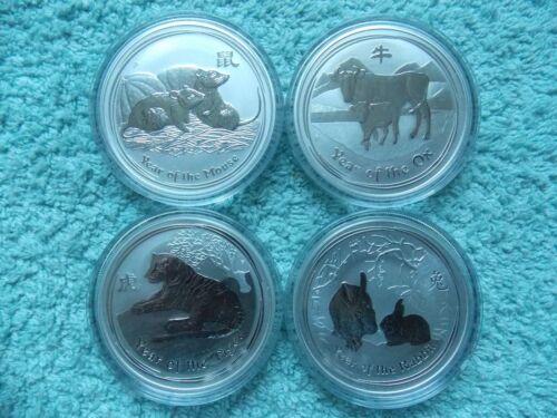 2008-2009-2010-2011 Australian Silver Lunar 1 OZ (Set of 4 coins)