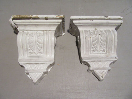 "~ PAIR OF ORNATE ANTIQUE PLASTER CORBELS 12.5"" TALL ~ ARCHITECTURAL SALVAGE"