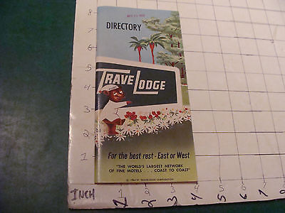 Vintage Paper item: picked up in 1959 TRAVEL LODGE Directory 68 pgs c.1954 tight