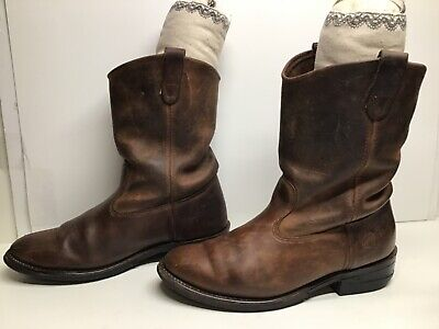 VTG MENS DOUBLE-H WORK BROWN BOOTS SIZE 12 D