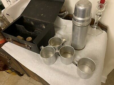 """Vintage Glass Lined Metal 10"""" Thermos Landers Frary Clark W/4 Cups Corks Case"""