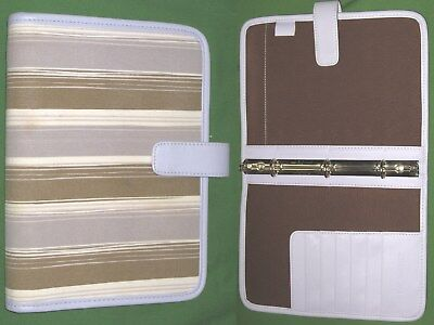 Classic 0.75 Purple S Lthr Tan Fabric Day Runner Planner Binder Franklin Covey