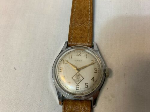 Vintage CUB SCOUT BSA Wrist Watch - TIMEX Wind up, leather band, USED with WEAR