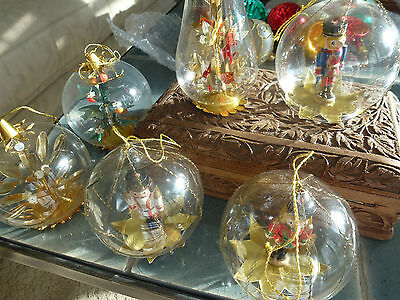 Set Lot 6 Vintage Glass German Wood Foil Trees Birds Christmas Ornament Soldiers