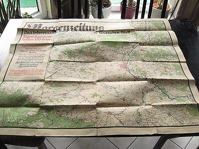 alte Landkarte Magdeburg u.Umgebung v.d.Morgenzeitung für Magdeburg und Provinz