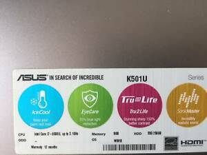 ASUS 15.6 Notebook i7 8GB 256GB used 4 months