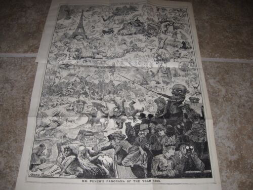 Zoom HUGE 1890 Original POLITICAL CARTOON - 1889 Year in Review JACK the RIPPER