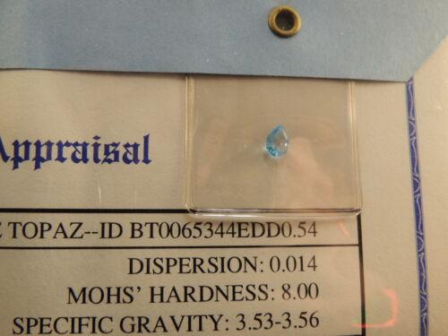 Gemstone Gem Stone Appraisal Genuine Blue Topaz 0.54 Carats COA $110 Pear Nov
