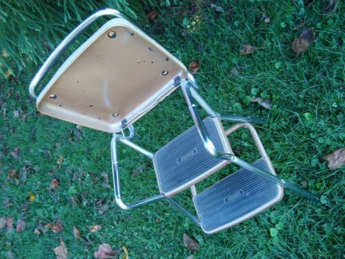 Vtg COSCO 2 step Kitchen Chair FLIP Seat SHOP Step Stool CHROME Tan Steam Punk