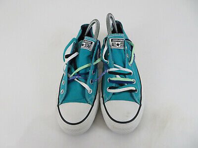 Converse All Star Chuck Taylor Lo Shoe Teal Blue Skull Feather Lined Womens 10