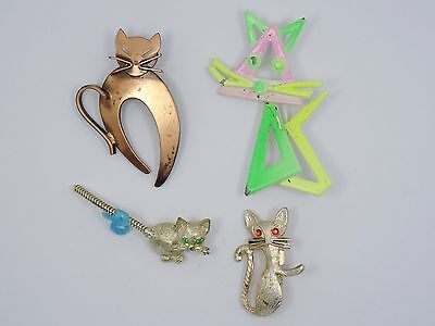 GROUP of FOUR WHIMSICAL VINTAGE CAT BROOCHES METAL and ENAMEL ~ 2.25