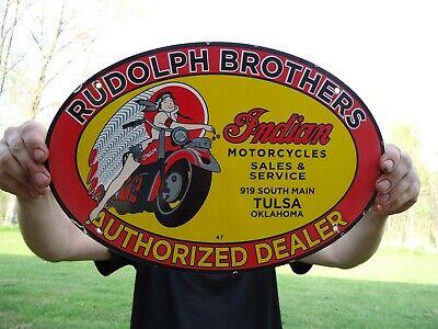 VINTAGE 1947 RUDOLPH BROTHERS INDIAN MOTORCYCLES PORCELAIN DEALER SIGN TULSA OK