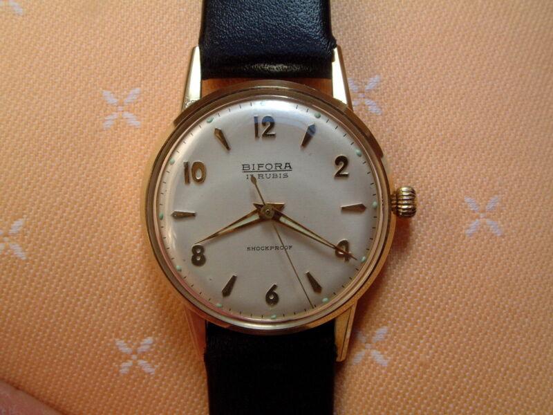 BIFORA Herren Armbanduhr - 17 Rubis - shockproof - 14 Kt. Gold 585 - second hand