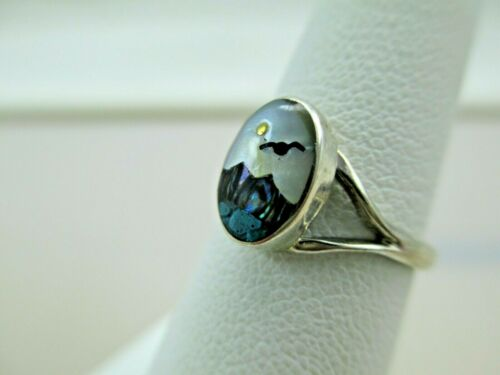Sterling Silver SEAGULL SUN SEA RING Abalone MOP Shell Size 5 MEXICO 080TB