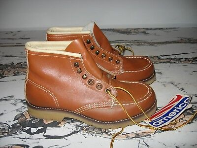 Vintage NOS Made in America Childs Leather Lace-Up Ankle Work Boots Size 2.5