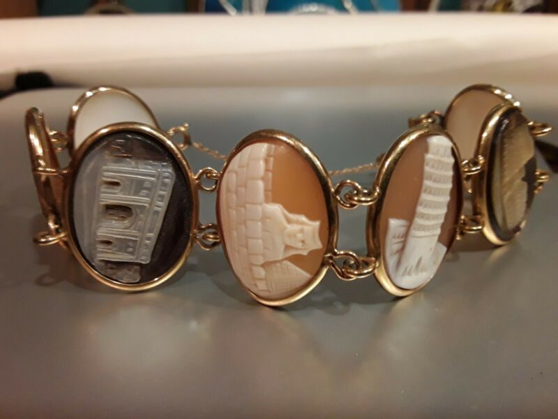 Vintage Cameo Bracelet The 7 Wonders of the World 12K Gold filled signed Ronci