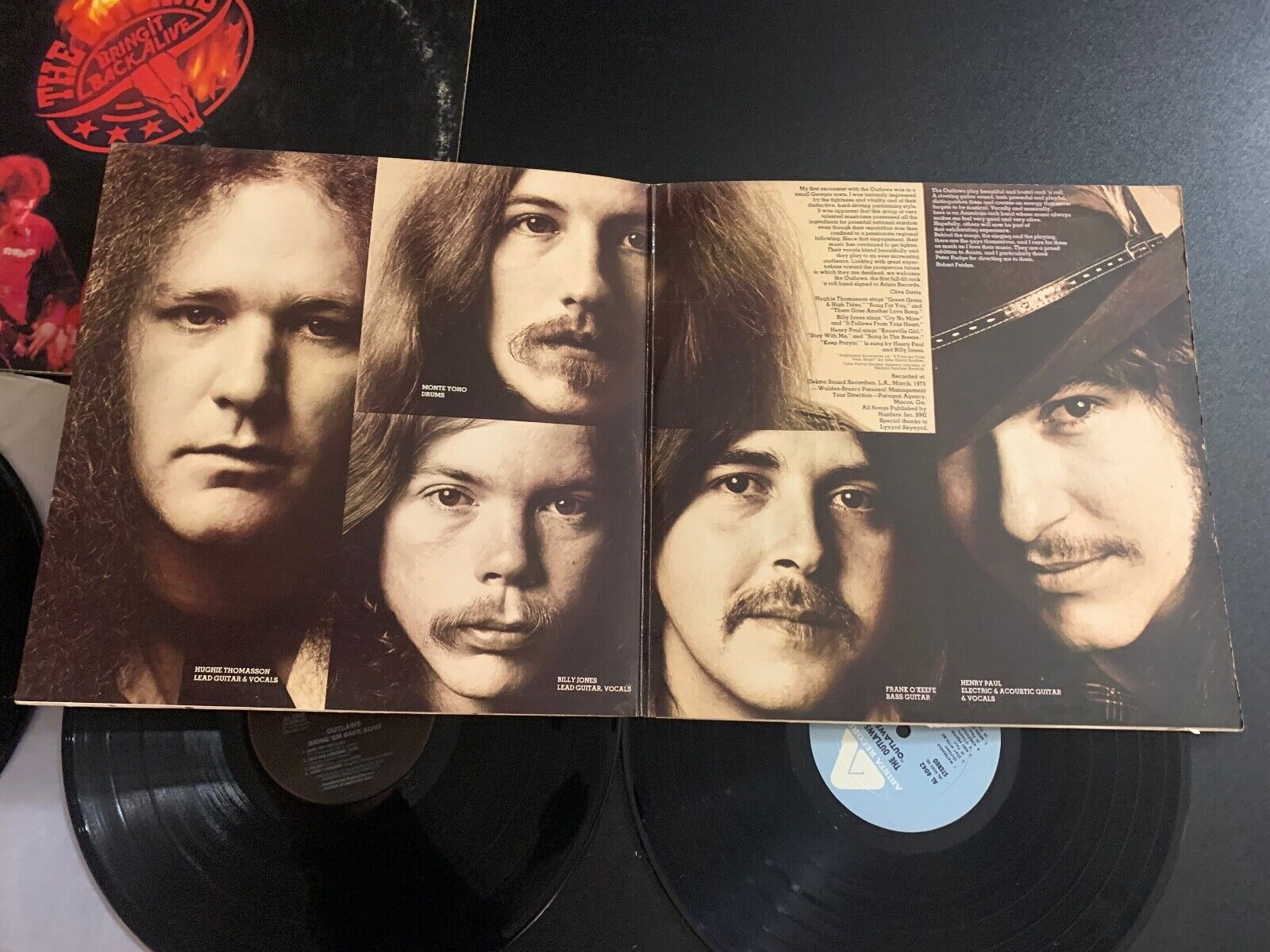 LOT OF 2 LPS RECORDS - THE OUTLAWS - BRING IT BACK ALIVE SELF TITLE ARISTA - $14.99