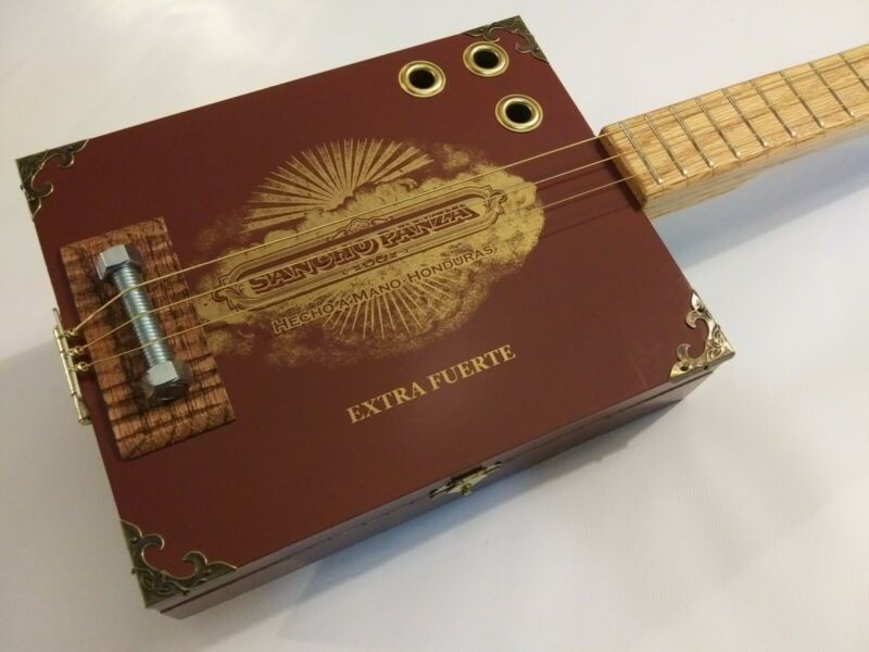 *GRITTY FISH*Handcrafted 3 String Acoustic Cigar Box Guitar
