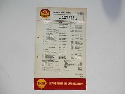 SHELL LUBRICATION CHART X1011 2nd Revision BEDFORD PC 10/12cwt Petrol van