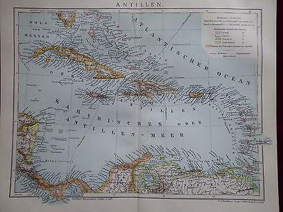 Landkarte Antillen, Cuba, Puerto Rico, Dom. Rep., Brockhaus 1901  ()