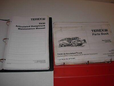 Terex Ta30 Articulated Dump Truck Parts Maintenance Manuals Sn Listed