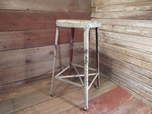 Vintage Industrial Metal Adjustable Stool Shop Garage Mid Century