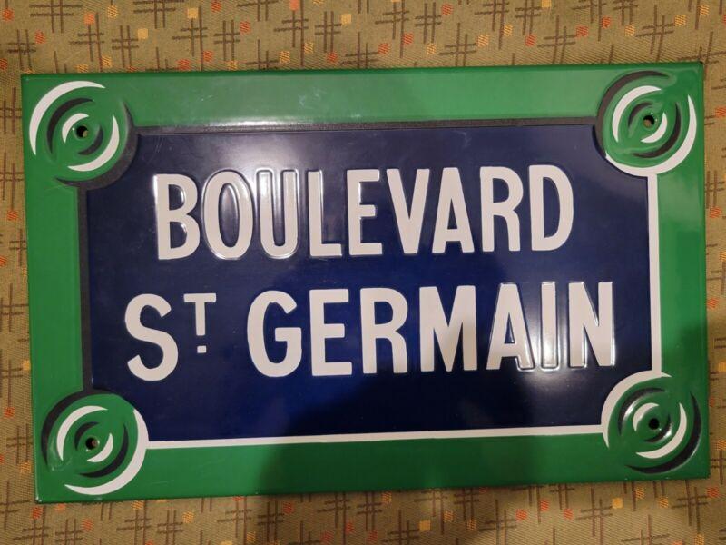 Original Vintage Paris street sign french enamel porcelain BOULEVARD St. GERMAIN