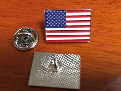 american flag pin silver usa flag lapel pin hat tack 2 pins 3/4