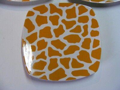 Square Salad Plate Giraffe Orange Porcelain Dishwasher Microwave Safe 8.25x8.25